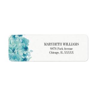 Blauer Watercolor-BlumenRücksendeadresse-Aufkleber