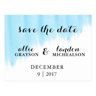 Blauer Watercolor Save the Date Postkarte