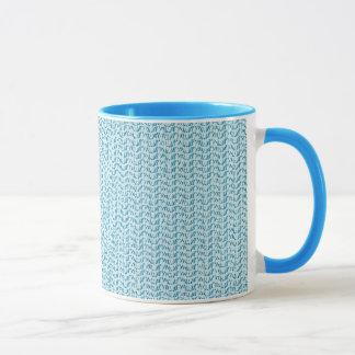 Blauer Webart-Maschen-Pastellblick Tasse