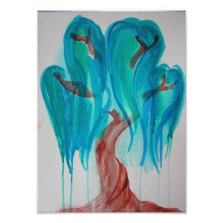 Blauer Weide-Baum-Druck Fotodruck