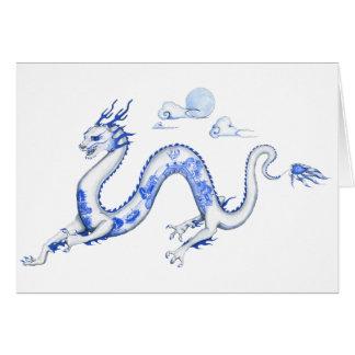Blauer Weide-Drache mit weißem BG Karte
