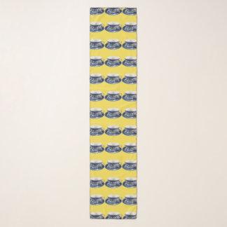 Blauer Weideteacup-Schal-Gelb-Hintergrund Schal