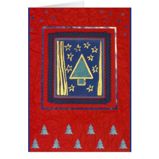 Blauer Weihnachtsbaum modern auf Rot Karte