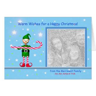 Blauer Weihnachtszuckerstange-Elf (Fotorahmen) Karte