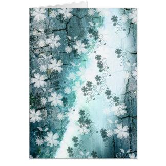 Blauer weißer BlumenBlumenmusterhintergrund Grußkarte