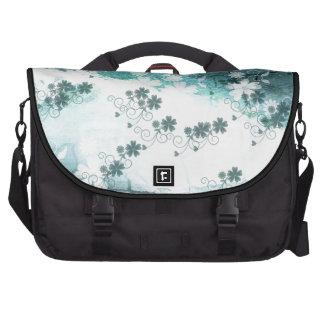 Blauer weißer BlumenBlumenmusterhintergrund Notebook Taschen