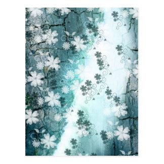 Blauer weißer BlumenBlumenmusterhintergrund Postkarten