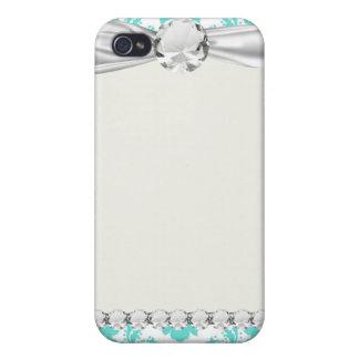 blauer weißer Damastentwurf des romantischen Aqua iPhone 4 Hülle
