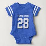 Blauer weißer Fußball Jersey trägt Baby-Spielanzug Baby-Strampelanzug