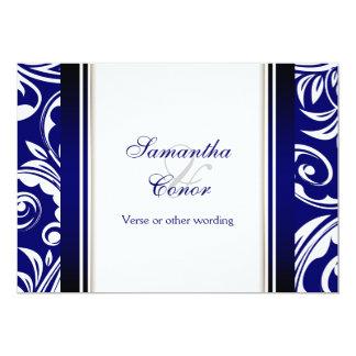 Blauer weißer Hochzeits-Verlobungsjahrestag 12,7 X 17,8 Cm Einladungskarte
