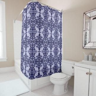 Blauer weißer Kaninchen-Vogel deckte Duschvorhang Duschvorhang