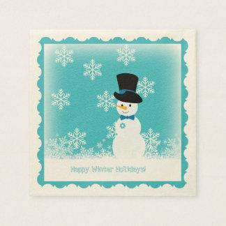 Blauer weißer lustiger Schneemann mit Flocken Papierservietten