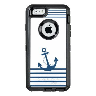 Blauer weißer Streifen-Anker-nautischentwurf OtterBox iPhone 6/6s Hülle