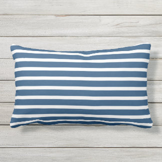 Blauer weißer Streifen-klassischer Seeentwurf Kissen Für Draußen