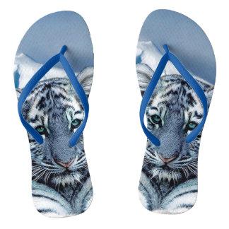 Blauer weißer Tiger Flip Flops