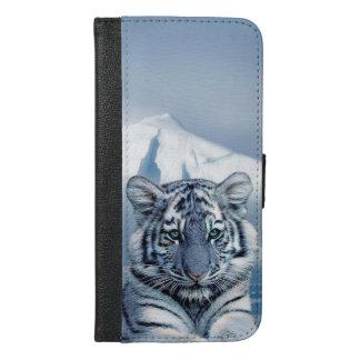 Blauer weißer Tiger iPhone 6/6s Plus Geldbeutel Hülle