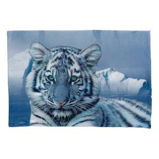 Blauer weißer Tiger Kissenbezug