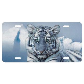 Blauer weißer Tiger US Nummernschild