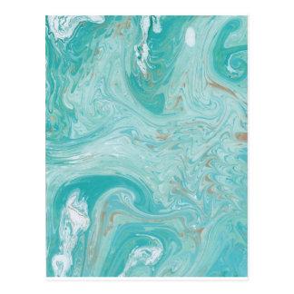 Blauer Wellen-Marmor Postkarte