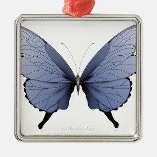 Blauer Wiesen-Bischof des Schmetterlings-1 Silbernes Ornament