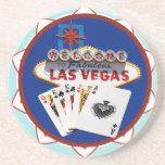 Blauer willkommenes Zeichen-Poker-Chip Las Vegas Getränkeuntersetzer