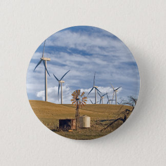 Blauer Wind-Knopf Runder Button 5,7 Cm