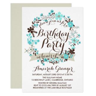 Blauer Winter-BlumenKranz-Geburtstags-Einladung 12,7 X 17,8 Cm Einladungskarte