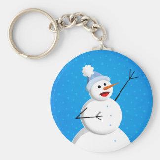Blauer Winter-glücklicher Schneemann Schlüsselanhänger