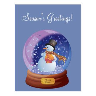 Blauer Winter Snowglobe kundenspezifische Postkarte
