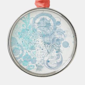 Blauer Wirbel Rundes Silberfarbenes Ornament