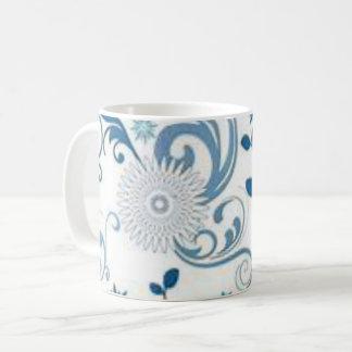 Blauer Wirbel und Blumen Kaffeetasse