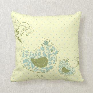 Blauer Wirbler Mamma-u. Baby-Vogel-wunderlicher Kissen