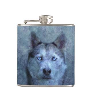 Blauer Wolfschlittenhund Flachmann
