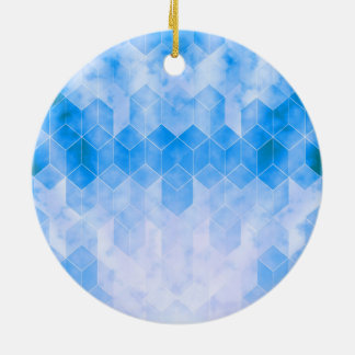 Blauer Würfel-geometrischer Entwurf Keramik Ornament