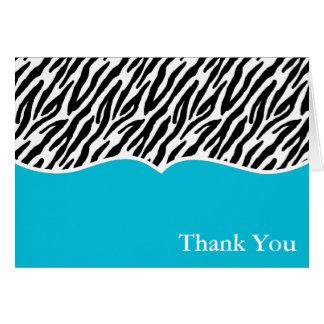 blauer Zebra-Druck danken Ihnen Mitteilungskarte