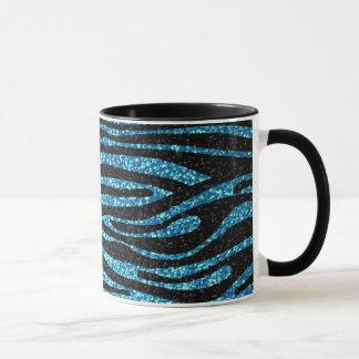 Blauer Zebradruck (bling Imitat-Glitter) Tasse
