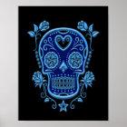 Blauer Zuckerschädel mit Rosen auf Schwarzem Poster