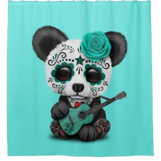 Blauer Zuckerschädel-Panda, der Gitarre spielt Duschvorhang
