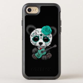 Blauer Zuckerschädel-Panda, der Gitarre spielt OtterBox Symmetry iPhone 8/7 Hülle