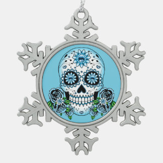 Blauer Zuckerschädel Schneeflocken Zinn-Ornament
