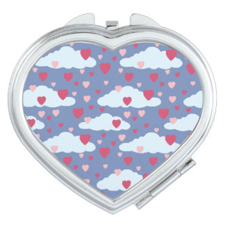 Blaues Сloud Herz-Muster Taschenspiegel
