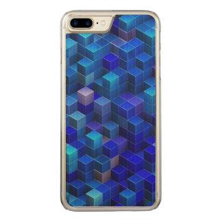 Blaues 3D berechnet des abstrakten geometrischen Carved iPhone 8 Plus/7 Plus Hülle