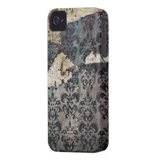Blaues abgedroschenes Vintages Grunge-Damast-Muste iPhone 4 Etuis