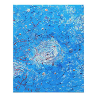 Blaues abstraktes Druckmuster Vollfarbige Flyer