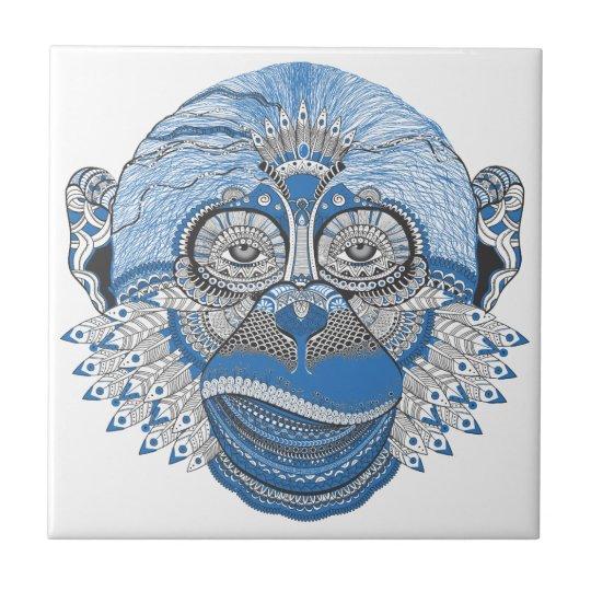 Blaues Affe-Gesicht mit Muster und Federn Fliese   Zazzle