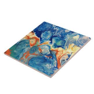 Blaues alien-abstrakte acrylsauermalerei fliese