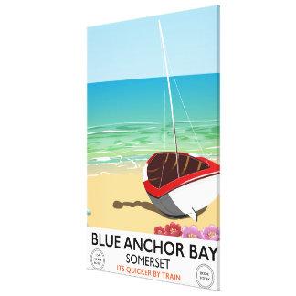 Blaues Anker-Bucht-Somerset-Reiseplakat Leinwanddruck