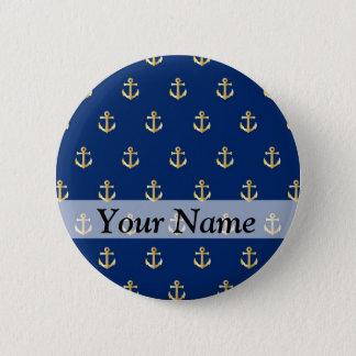 Blaues Ankermuster Runder Button 5,1 Cm