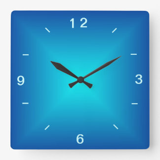 Blaues Aqua belichteter Entwurf > einfache Wanduhr Quadratische Wanduhr
