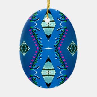 Blaues aquamarines magentarotes Stammes- Muster Keramik Ornament